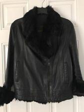 Orpelle Noir Col en Fourrure Motard Designer Fashion mouton Veste en cuir taille 36