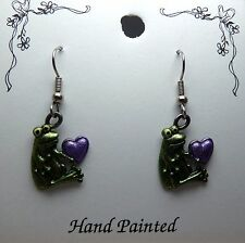 Hand Painted Cute Frog with Heart Dangle Charm Earrings