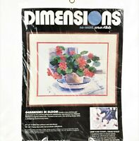 Dimensions - No Count Cross Stitch Kit - GERANIUMS IN BLOOM - Vtg 1987 - 14 Ct