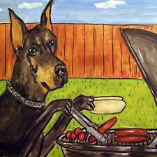 Doberman Pinscher Cook Out Animal pet dog art tile coaster gifts artwork