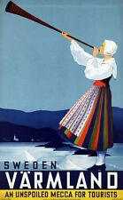 """Vintage Illustrated Travel Poster CANVAS PRINT Sweden Unspoiled mecca 8""""X 10"""""""
