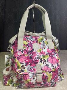 $114 Kipling Pahneiro Blushing Posies Pink Floral Shoulder Tote Crossbody Bag