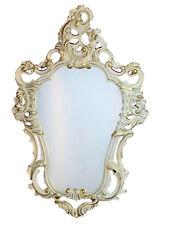 Edler kleiner ovaler Spiegel mit Hahn und Huhn im Shabby Chic Stil bemalt