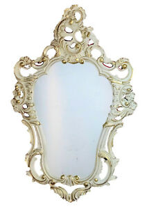 Shabby Chic White Gold Wall Mirror Baroque Antique 50X76 Wall Decoration 118 New