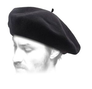 Mens Black Solid Color Beret 100% Wool French Cap Hat