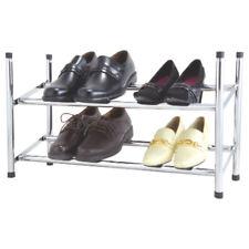 Schuhregal Regal Schuhablage 2 Ebenen Metall verchromt Schuhständer