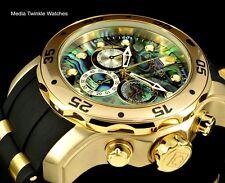 Invicta 48mm Pro Diver ABALONE DIAL Quartz Chronograph Gold Tone Silicone Watch