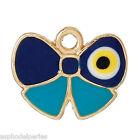 2 pendentifs breloques dorés et émaillés papillon 14 mm
