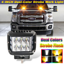 4 INCH Dual Color Strobe LED Work Light POD Amber White Combo Beam Driving Lamp