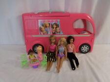 Barbie Pop Up Popup Camper 3 Levels Pink RV Bus Home Van Truck Set + 1999 Dolls