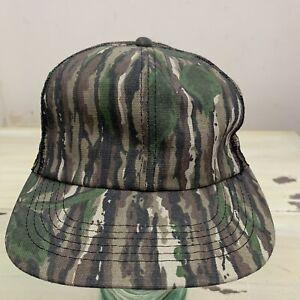 CAMO HAT - Vtg 80s Green Tan Deer Hunting SnapBack Trucker Bark Camouflage Cap