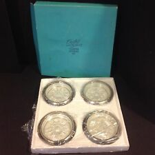 Vintage Crystal Silver Coaster Ashtray W & S Blackinton Company Set 4 w/box