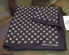 Ralph Lauren Purple Label 100% Silk Handkerchief Navy Blue Made In Italy New !!