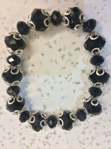 Black Glass Stretch Bracelet Brand New XMAS PRESENT WOMANS/GIRLS