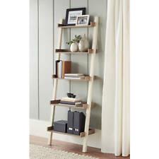 Leaning Bookcase 5 Tier Wood Wall Bookshelf Storage Display Shelf Rack Furniture