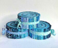 "Batik JELLY ROLL 40 x 2.5"" Strips 100 % Cotton, Tones of Blue"