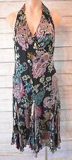 OJAY Dress Sz 8 Small black pink green midi skater fit flare silk Dress