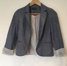 Ladies Fashion Blazer Jacket Size 6 Blue Open Front <SW4666