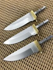 Lot of 3 Drop Point Stainless Steel Knife Making Supplies Blade Blanks
