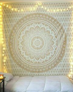 """TWIN GOLD MANDALA OMBRE TAPESTRY 100% COTTON 54"""" X 84"""" HOME DECOR WALL HANGING"""