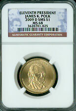 2009-D JAMES POLK PRES. DOLLAR NGC MS68 SMS 2ND FINEST GRADE SPOTLESS .