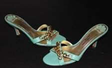 """Hollywould 7 B Turquoise Slides Sandals Gold Chains 2.8"""" Heels  Italy"""