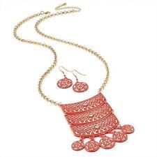 Splendido GOLD TONE & Smalto Arancione Design tribale collana catena e Orecchino Set