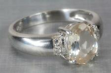 A SOLID STERLING SILVER NATURAL DIAMOND & YELLOW BERYL FANCY RING SIZE P (7.75)