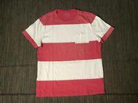 J Crew Adult Mens Medium Pocket Tee T Shirt Short Sleeve Stripe Pink 78126