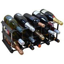 Harbour Housewares 15 Bottle Wine Rack - Fully Assembled - Black Wood