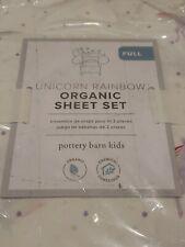 Pottery Barn Kids Multi Colors Organic Cotton Unicorn Rainbow Full Sheet Set
