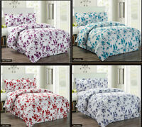 3 Piece Printed Bella Quilted Bedspread Comforter Throw Set With 2 Pillow Cases