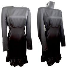 River Island black plus Size Silky Satin Long Sleeve Dress Uk Size 22 RRP £38