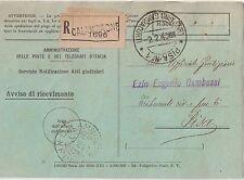 ITALIA 1940 AVVISO DI RICEVIMENTO RACCOMANDATO DA CALAMBRONE  PER PISA