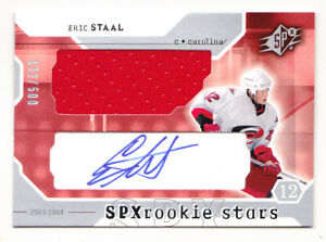 03-04 SPx Eric Staal /500 Auto Jersey Rookie Hurricanes 2003
