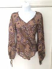 NEXT size 8 multi colour lightweight floral pattern long sleeve v neck top