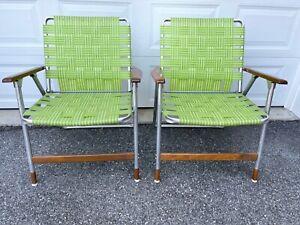 2 Vintage Telescope Aluminum Folding Lawn Patio Arm Chair Yellow Wood Arm Rest