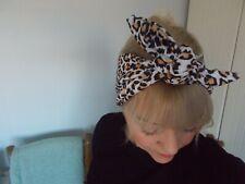 HEAD SCARF HAIR BAND leopard print black tan orange cream stretch ROCKABILLY