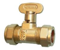 ISOLATION VALVE GAS COCK STOP TAP COMPRESSION FITTING, SIZES: 8mm 10mm 15mm 22mm