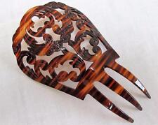 Vintage 1920's Floral Design Pierced Faux Tortoiseshell Celluloid Hair Comb