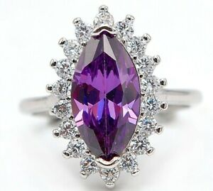 4CT Amethyst & Topaz 925 Solid Sterling Silver Ring Jewelry Sz 8 M12