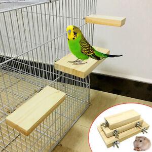 Wooden Cockatiel parrot-Bird Cage Perches Stand Platform Pets Budgie Hanging