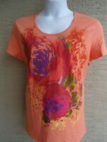 New Just My Size 2X Graphic Scoop Neck Tee Shirt Orange with Glitz Large Flowers