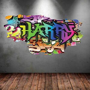 FULL COLOUR PERSONALISED 3D GRAFFITI NAME CRACKED WALL ART STICKERS DECAL WSD118