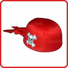 KIDS CHILDRENS / ADULTS RED PIRATE SCARF HAT CAP -SKULL & BONES -COSTUME -PARTY