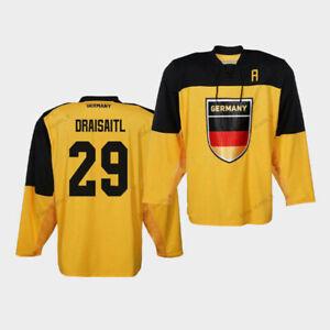 Custom 2020 Leon Draisaitl 29 Hockey Jersey Team Germany Deutschland Sewn Yellow