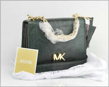 New MICHAEL KORS - MOTT Racing Green Embossed Leather Chain Satchel / Purse