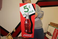 "Coca Cola 5c Ice Cold Soda Pop Gas Station 28"" Reissue Embossed Metal Sign"