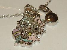 HELLO KITTY ZODIAC AQUARIUS Sterling 925 Pave Crystal Enamel Pendant Necklace