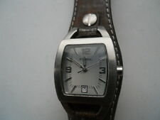 Fossil women's brown leather band.quartz,battery & water resistant used watch.